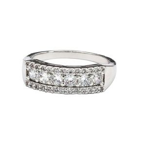 Silver recessed crystal ring